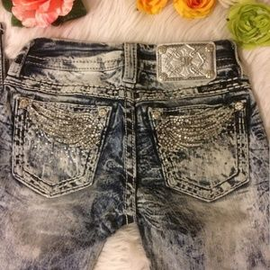 Nwot Miss me acid washed jeans angel wings